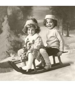 """Салфетка для декупажа SVD80021 """"Дети на санках"""", 33х33 см, Sagen Vintage Design, Норвегия"""