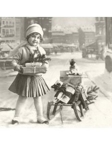 """Салфетка для декупажа SVD80022 """"Девочка и подарки"""", 33х33 см, Sagen Vintage Design, Норвегия"""