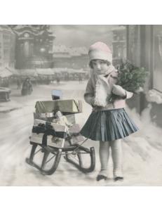 """Салфетка для декупажа SVD80038 """"Девочка с подарками"""", 33х33 см, Sagen Vintage Design, Норвегия"""