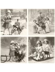"""Салфетка для декупажа SVD80043 """" Дети в Рождество"""", 33х33 см, Sagen Vintage Design, Норвегия"""