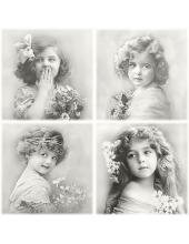 """Салфетка для декупажа SVD80052 """"Девочки с цветами"""", 33х33 см, Sagen Vintage Design, Норвегия"""