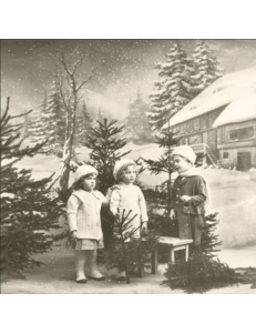 """Салфетка для декупажа SVD80064 """"Дети и елки"""", 33х33 см, Sagen Vintage Design, Норвегия"""