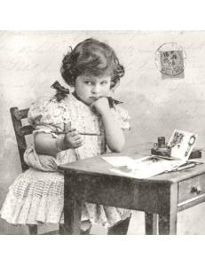 """Салфетка для декупажа SVD80068 """"Девочка пишет письмо"""", 33х33 см, Sagen Vintage Design, Норвегия"""