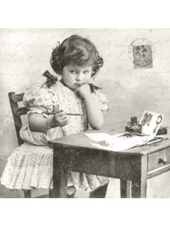 Салфетка для декупажа Девочка пишет письмо, 33х33 см, Sagen Vintage Design, Норвегия