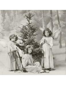"""Салфетка для декупажа SVD2082 """"Ангелы у елки"""", 33х33 см, Sagen Vintage Design, Норвегия"""