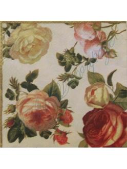 """Салфетка для декупажа, S0058, """"Розы на светлом фоне"""", 33х33 см"""