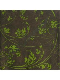 Салфетка для декупажа, S1143, салатовый узор на коричневом фоне, 33х33 см