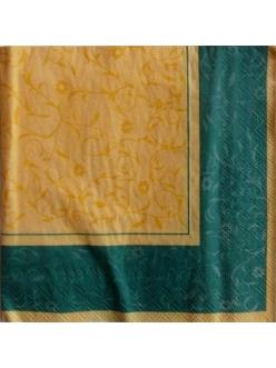 Салфетка для декупажа Желтый узор с зелёным бордюром, 33х33 см
