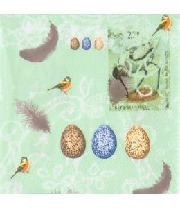 """Салфетка для декупажа M74047 """"Птицы, птичьи яйца"""", салатовый, 33х33 см, Австрия"""