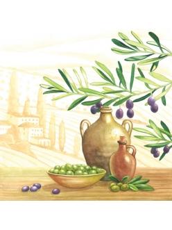 Салфетка для декупажа Оливки и оливковое масло, Прованс, 33х33 см, Австрия