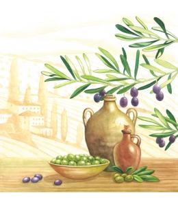 """Салфетка для декупажа M74131 """"Оливки и оливковое масло, Прованс"""", 33х33 см, Австрия"""