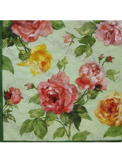 "Салфетка для декупажа, S0069, ""Античные розы на салатовом фоне"", 33х33 см"