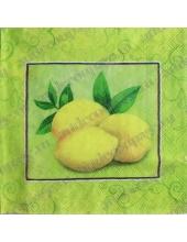 """Салфетка для декупажа S0170 """"Лимоны и орнамент"""", 33х33 см, Германия"""