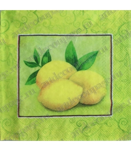 """Салфетка для декупажа, S0170 """"Лимоны и орнамент"""", 33х33 см, Германия"""