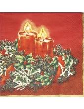 """Салфетка для декупажа MF224240 """"Рождественские свечи, красный фон"""", 25х25 см, Германия"""