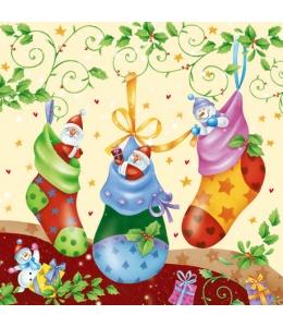 "Салфетка для декупажа SDGW001401 ""Рождественские носки"", 33х33 см"