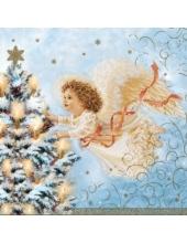 """Салфетка для декупажа CLGW004701 """"Ангел и новогодняя ель, голубой фон"""", 25х25 см"""