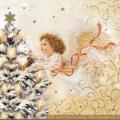 """Салфетка для декупажа CLGW004702 """"Ангел и новогодняя ель"""", 25х25 см"""