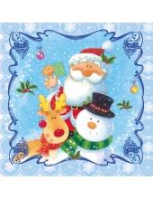 """Салфетка для декупажа SDGW001301 """"Санта, снеговик, олень"""", 33х33 см"""