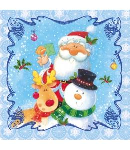 """Салфетка для декупажа CDGW001301 """"Санта, снеговик, олень"""", 25х25 см"""