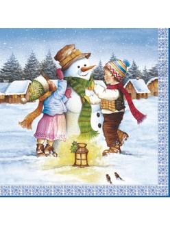 Салфетка новогодняя для декупажа Снеговик и дети, 33х33 см