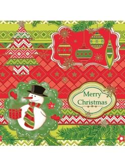 Салфетка новогодняя для декупажа Снеговик, елочные игрушки, 33х33 см