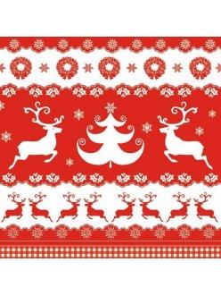 Салфетка новогодняя для декупажа Рождественские бордюры, 33х33 см, POL-MAK