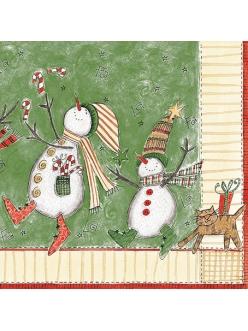 Салфетка новогодняя для декупажа Снеговики, 33х33 см