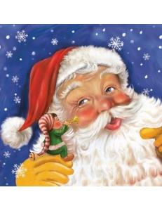 """Салфетка для декупажа SDGW005001 """"Санта Клаус и гномик"""", 33х33 см, POL-MAK"""