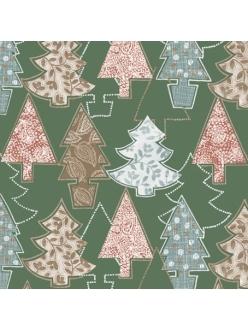 Салфетка новогодняя для декупажа Елочки, зеленый фон, 33х33 см