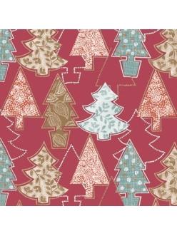 Салфетка новогодняя для декупажа Ёлочки, красный фон, 33х33 см