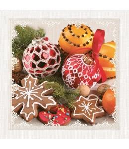 """Салфетка для декупажа SDGW008201 """"Новогодние шары и печенье"""", 33х33 см"""