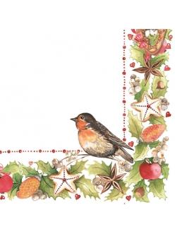 Салфетка новогодняя для декупажа Рождетвенская гирлянда, снегирь, 33х33 см