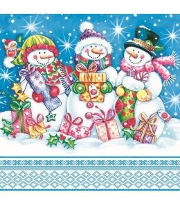 """Салфетка для декупажа SDGW009601 """"Снеговики с подарками"""", 33х33 см, POL-MAK"""
