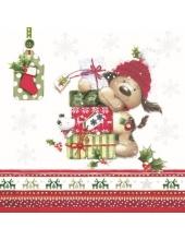 """Салфетка для декупажа SDGW011301 """"Собачка с подарками"""", 33х33 см, POL-MAK"""