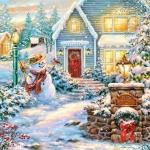 """Салфетка для декупажа SDGW013001 """"Снеговик и зимний дом"""", 33х33 см, POL-MAK"""