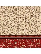 """Салфетка для декупажа SDOG003203 """"Цветочный бежево-красный орнамент"""", 33х33 см, POL-MAK"""