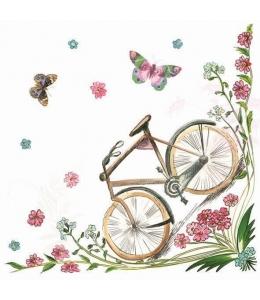 "Салфетка для декупажа SDOG007701 ""Велосипед и бабочки"", 33х33 см, POL-MAK"