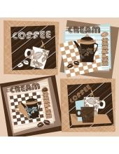 """Салфетка для декупажа SDOG015401 """"Этикетки с кофе"""", 33х33 см, POL-MAK"""
