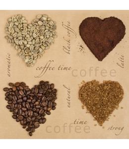 "Салфетка для декупажа SDOG016401 ""Сердце из кофе"", 33х33 см, POL-MAK"