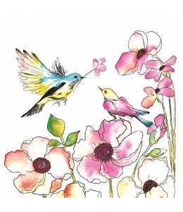 """Салфетка для декупажа SDOG017501 """"Птицы и цветы"""", 33х33 см, POL-MAK"""