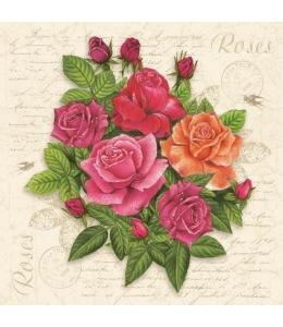 """Салфетка для декупажа SDOG023201 """"Красные розы и текст"""", 33х33 см, POL-MAK"""