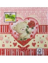 "Салфетка для декупажа SDWA000401 ""Медвежонок с розой"", 33х33 см, Германия"