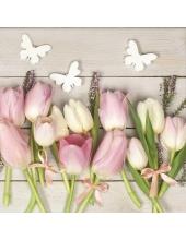 "Салфетка для декупажа SDWI004401 ""Тюльпаны и бабочки"", 33х33 см, POL-MAK"