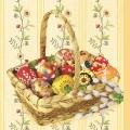 """Салфетка для декупажа SDWL001501 """"Пасхальные яйца в корзине"""", 33х33 см, Германия"""