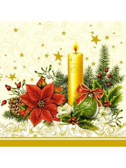 Салфетка новогодняя для декупажа Рождественский цветок и свеча, 33х33 см, POL-MAK