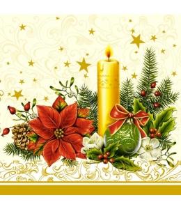 "Салфетка для декупажа SLGW000102 ""Рождественский цветок и свеча"", 33х33 см, POL-MAK"