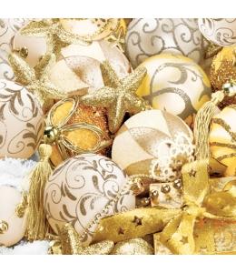 "Салфетка для декупажа SLGW000201 ""Ёлочные шары желтые"", 33х33 см, POL-MAK"