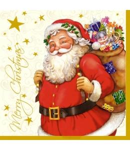 "Салфетка для декупажа SLGW001202 ""Санта с подарками"", 33х33 см"