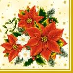 """Салфетка для декупажа SLGW001302 """"Рождественские цветы"""", 33х33 см"""